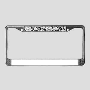 Elegant Black And White Floral License Plate Frame