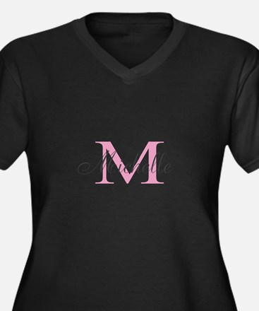 Personalized pink monogram Plus Size T-Shirt