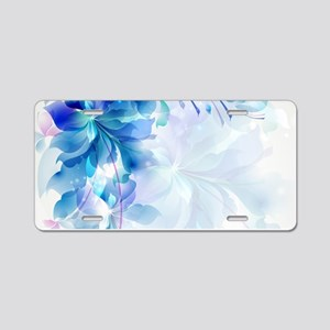 Abstract floral background Aluminum License Plate