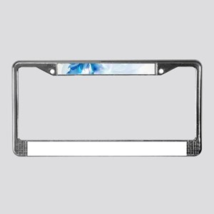 Abstract floral background blu License Plate Frame