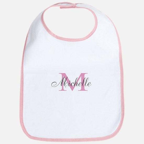 Personalized Girly Pink Monogram Baby Bib
