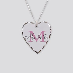 Personalized Pink Monogram Necklace Heart Charm