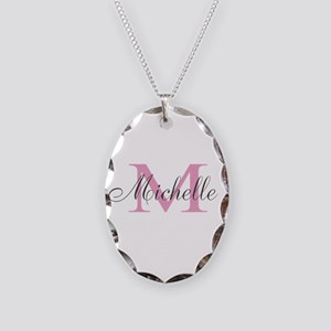 Personalized Pink Monogram Necklace Oval Charm