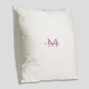 Personalized pink monogram Burlap Throw Pillow
