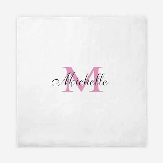 Personalized Elegant Pink Monogram Queen Duvet