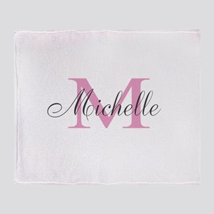 Personalized pink monogram Throw Blanket