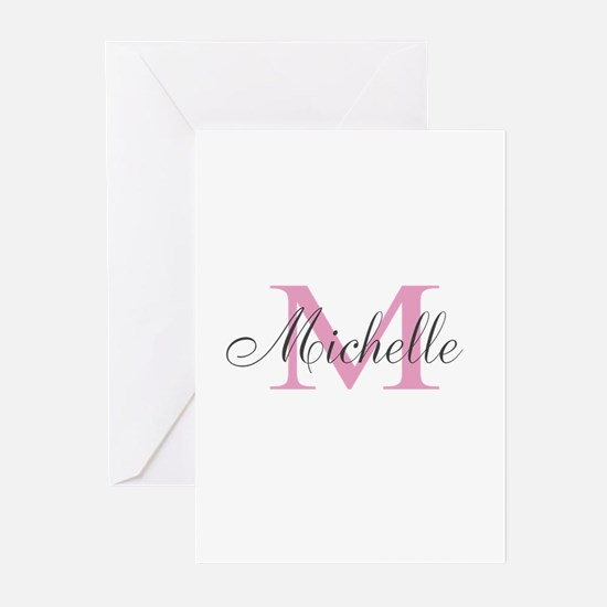 Personalized pink monogram Greeting Cards