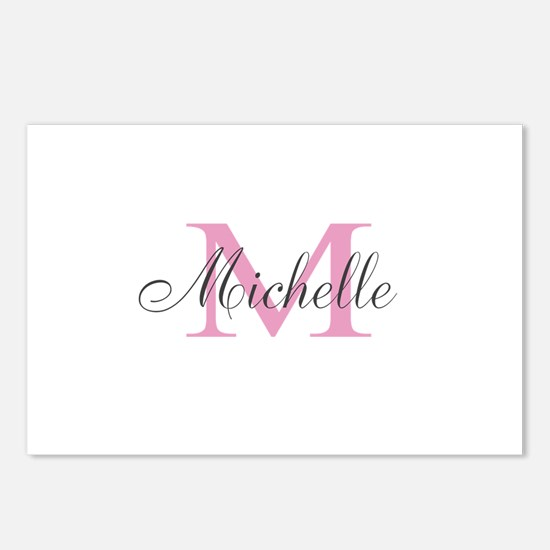 Personalized pink monogram Postcards (Package of 8