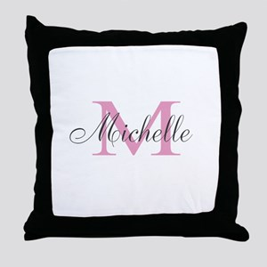 Custom Girly Pink Monogrammed Name Throw Pillow