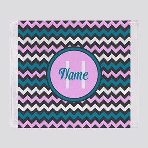 Pink and Blue Chevron Name and Initial Throw Blank
