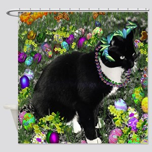 Freckles Tux Cat Easter Eggs Shower Curtain