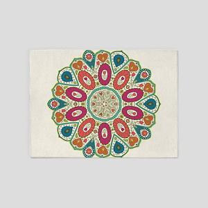 Tropical Henna Pattern Folk Art Pea 5'x7'Area Rug
