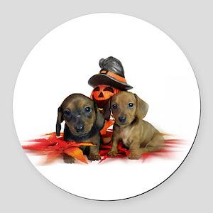 Halloween Dachshunds Round Car Magnet