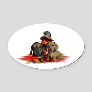 Halloween Dachshunds Oval Car Magnet