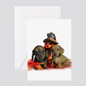 Halloween Dachshunds Greeting Card