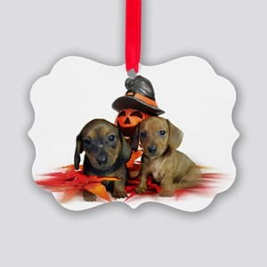 Halloween Dachshunds Picture Ornament