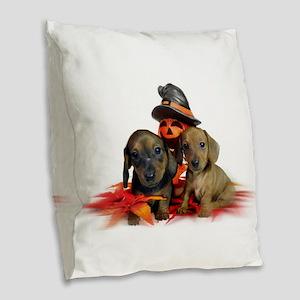 Halloween Dachshunds Burlap Throw Pillow