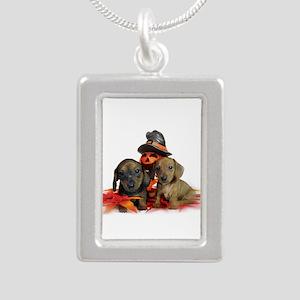 Halloween Dachshunds Silver Portrait Necklace