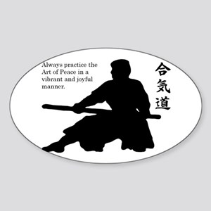 Aiki Jo Oval Sticker