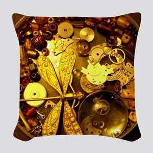 Steampunk Dragonfly Woven Throw Pillow