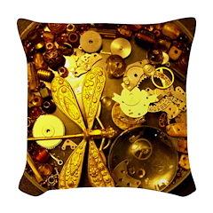 Steampunk Dragonfly Woven Throw Pillow