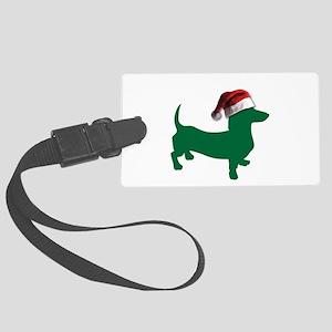 Christmas Green Dachshund Luggage Tag