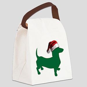 Christmas Green Dachshund Canvas Lunch Bag