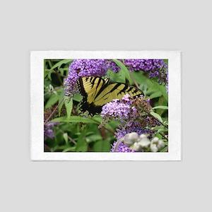 Butterfly & Flower 5'x7'Area Rug