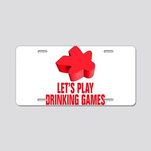 Red Drinking Games Aluminum License Plate