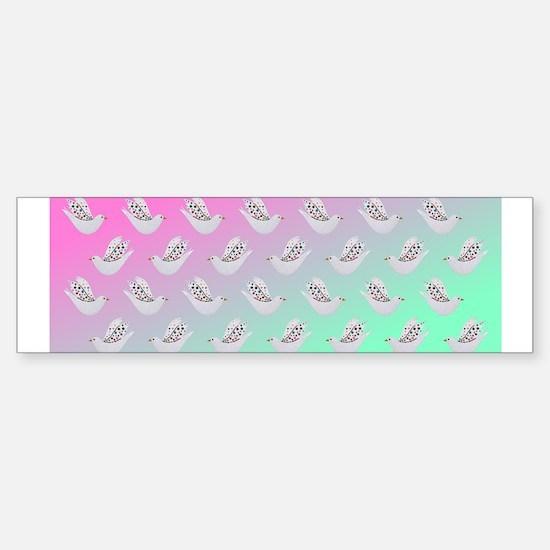 Cute Doves on Opal Sky Bumper Bumper Bumper Sticker
