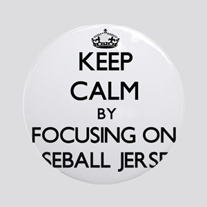 Keep Calm by focusing on Baseball Ornament (Round)