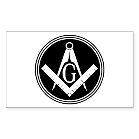 Masonic Square and Compass Sticker (Rectangle)