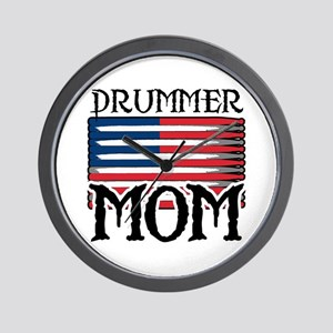 Drummer Mom USA Flag Drum Wall Clock