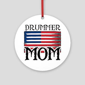 Drummer Mom USA Flag Drum Ornament (Round)