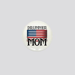 Drummer Mom USA Flag Drum Mini Button