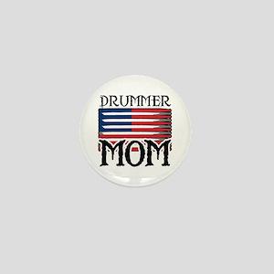 Drummer Mom USA Flag Drum Mini Button