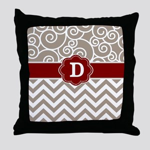 Tan Red Damask Chevron Monogram Throw Pillow
