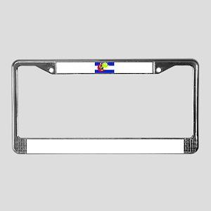 pickleball in Co state flag License Plate Frame