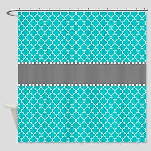 Teal Gray Quatrefoil Shower Curtain