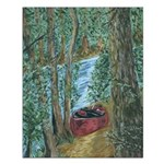 Red Canoe on Bank Small Poster