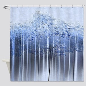 Shredded Abstract in Blue Shower Curtain