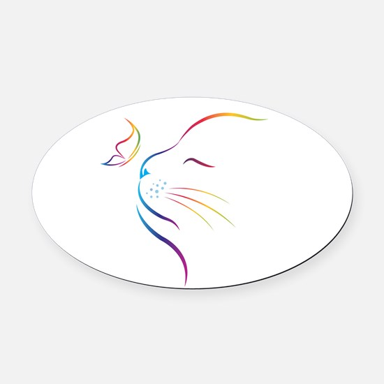 Cat Oval Car Magnet