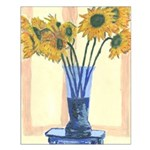 Blue Vase with Sun Flowers Print