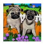 PUG DOG 2 dogs HALLOWEEN Tile Coaster