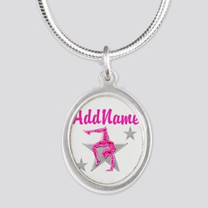 GORGEOUS GYMNAST Silver Oval Necklace