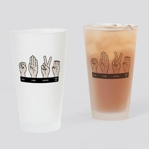 Rock, Paper, Table Saw Drinking Glass