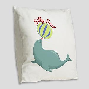 Silly Seal Burlap Throw Pillow