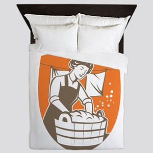 Housewife Washing Laundry Vintage Retro Queen Duve
