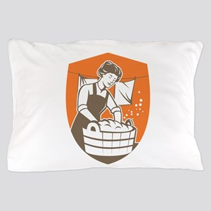 Housewife Washing Laundry Vintage Retro Pillow Cas