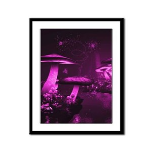 Glowing Purple Mushrooms Framed Panel Print